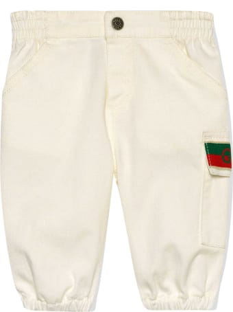 Gucci White Trousers With Logo Detail