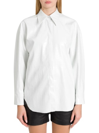 MSGM Oversized Shirt In Cocco Printed Faux Leather
