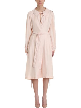Maison Flaneur Pink Silk Dress With Belt