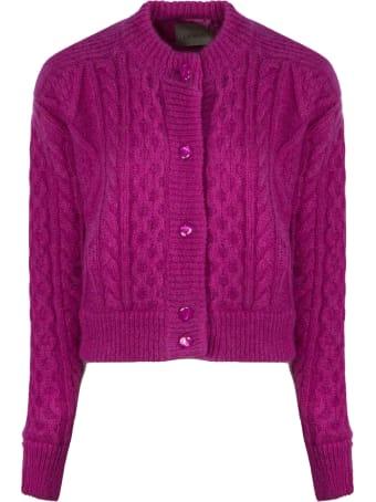 Laneus Fuchsia Mohair Wool-blend Cardigan