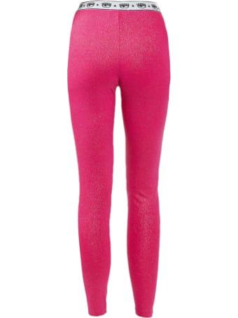 Chiara Ferragni Pink Glitter Elastic Sport Leggings