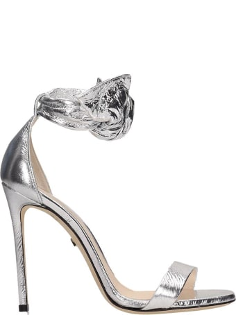 Grey Mer Knot Silver Calf Leather Sandals