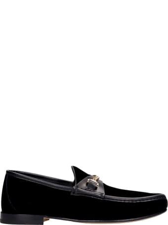 hyusto Mick Loafers In Black Velvet