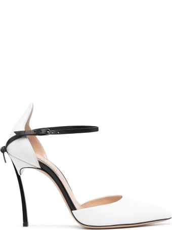 Casadei White And Black Blade Penny Pump