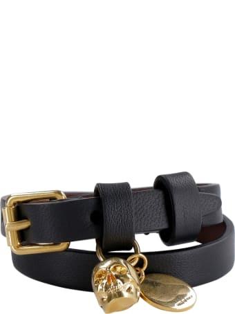 Alexander McQueen Skull Charm Leather Double-wrap Bracelet