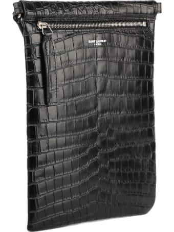 Saint Laurent Black Messenger Bag In Crocodile Printed Leather