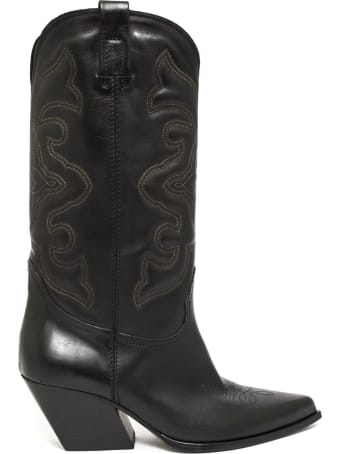 Strategia Texan Boot In Black Leather