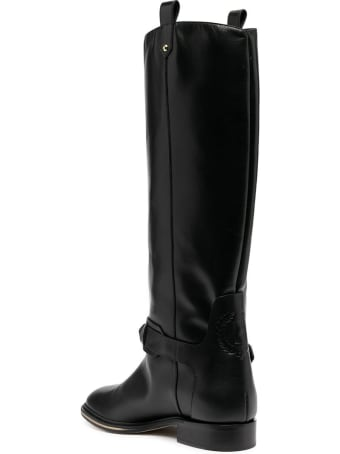 Pollini High Leather Boots With Buckle
