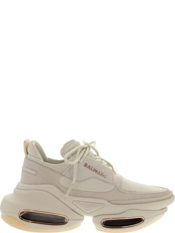 Balmain White Leather And Suede B-bold Low-top Sneakers