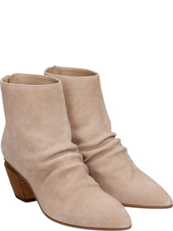 Officine Creative Severine 008 High Heels Ankle Boots In Beige Suede