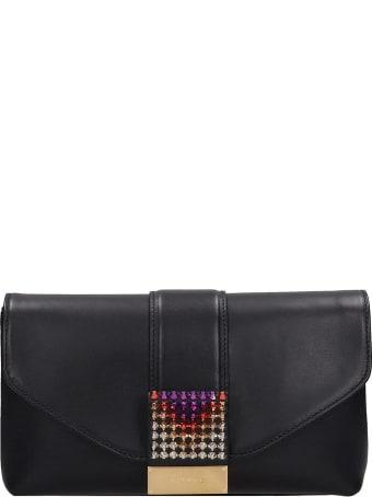 Visone Black Leather Giselle Clutch Bag