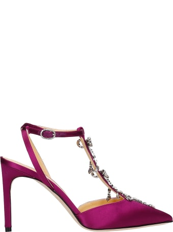 Giannico Merry  Sandals In Fuxia Satin