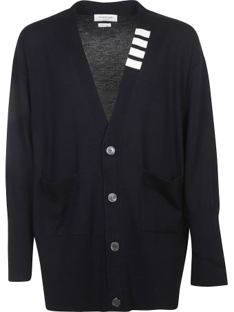 Thom Browne Oversized V-neck Stitch Cardigan