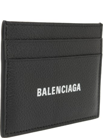 Balenciaga Black Man Card Holder With White Logo