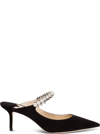Jimmy Choo Suede Mules With Pearl And Swsrovski Detail