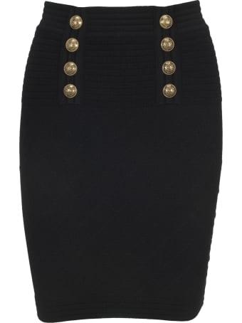 Balmain High-waisted Double-buttoned Black Knit Skirt