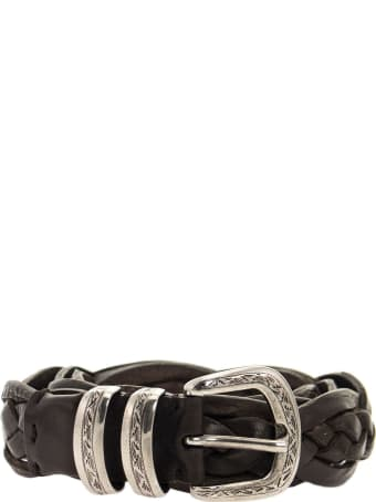 Brunello Cucinelli Braided Calfskin Belt With Detailed Buckle And Tip Rust Brown