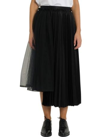 Noir Kei Ninomiya High-waist Asymmetric Pleated Satin Midi Skirt