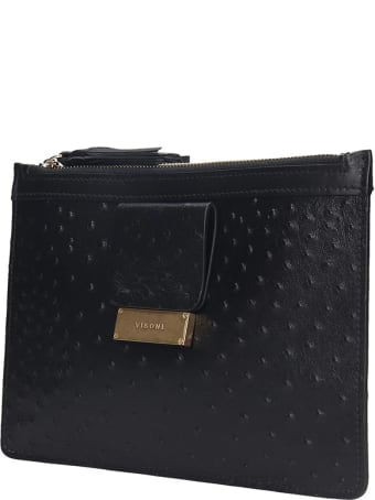 Visone Kim Clutch In Black Leather