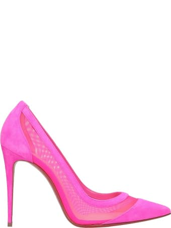 Christian Louboutin Galativi 100 Pumps In Fuxia Suede And Fabric