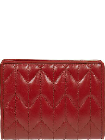 Miu Miu Embossed Logo Quilted Buttoned Wallet