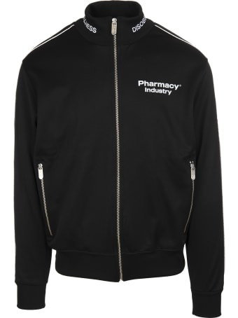 Pharmacy Industry Black Zippered Man Sweatshirt With Logo