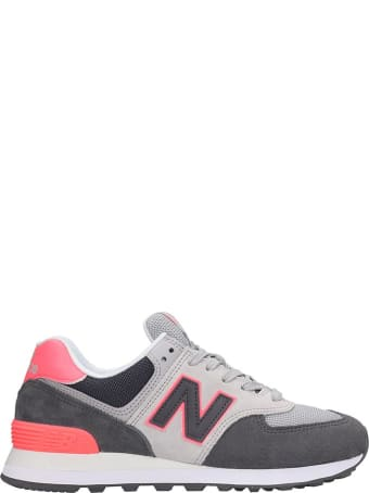 New Balance 574 Sneakers In Grey Suede And Fabric