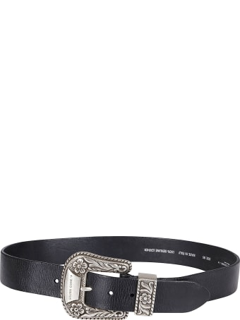 Golden Goose Black Leather Buckle Belt