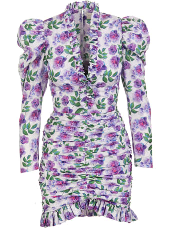 Giuseppe di Morabito Floral White Short Dress With Ruches