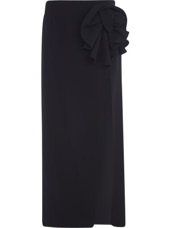 Magda Butrym Side-slit Floral Applique Long Skirt