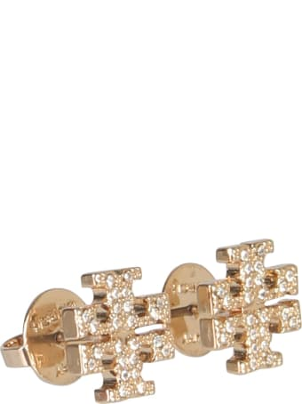 Tory Burch Crystal Logo Earrings