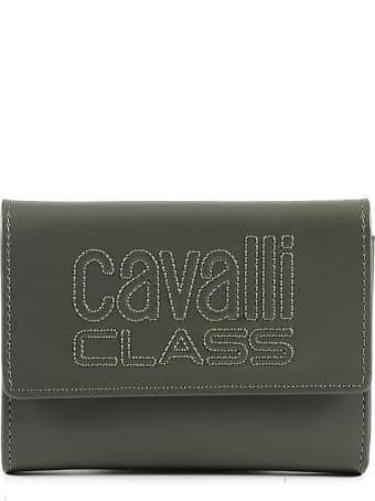 CLASS Roberto Cavalli Forest Green Leather Signature Women's Flap Wallet