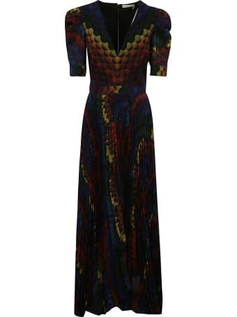 Alice + Olivia Long Colorful Back-zipped Dress