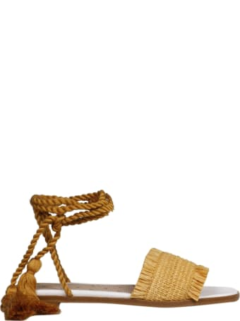 RED Valentino Raffia Flat Sandals