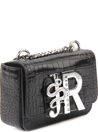 John Richmond Crocodile Effect Bag With Silver Logo