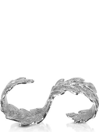 Bernard Delettrez Two Fingers Silver Leafy Ring