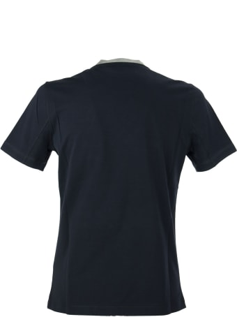Brunello Cucinelli Cotton Jersey Slim Fit T-shirt With Print And Contrast Neckline Cobalt