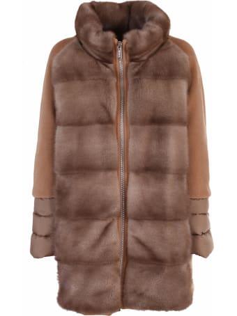 Moorer padded coat made of a mix of fabrics