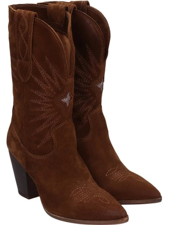 Julie Dee Texan Ankle Boots In Leather Color Leather