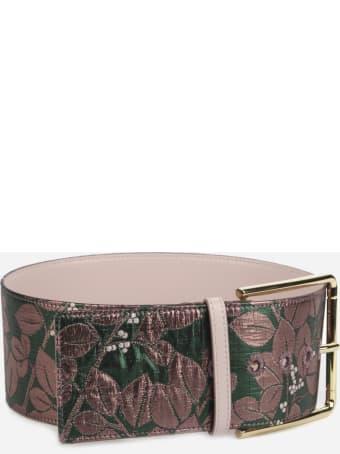 Dolce & Gabbana Belt Made Of Floral Lurex Jacquard