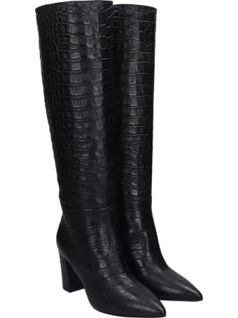 Janet & Janet High Heels Boots In Black Leather