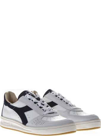 Diadora Heritage Elite White & Blue Leather Sneakers