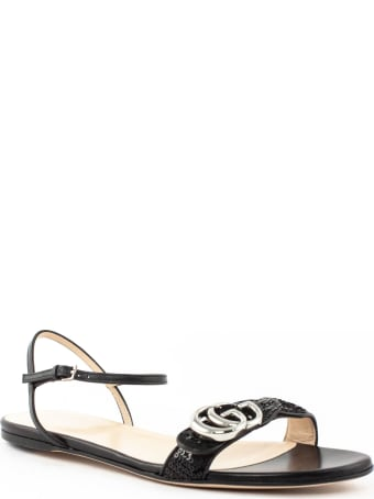 Gucci Black Leather Sandal