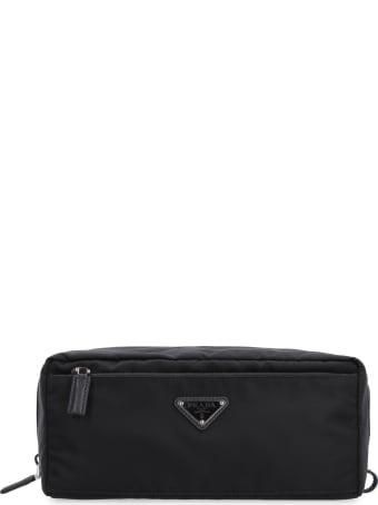 Prada Leather Details Nylon Washbag
