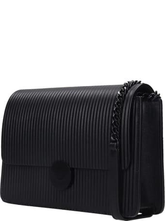 Visone Lizzy Striato Tote In Black Leather