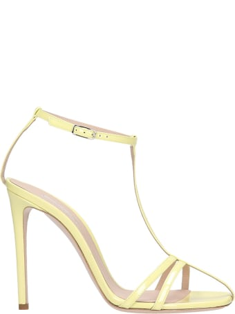 Sebastian Milano Sandals In Yellow Patent Leather