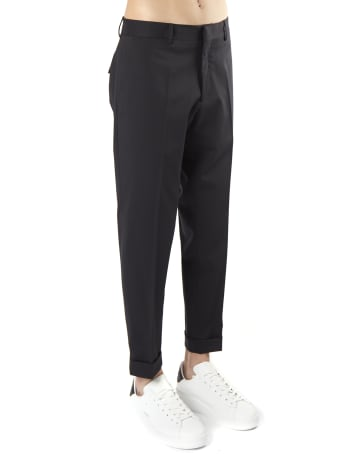 Low Brand Black Tailored Trousers In Wool Blend