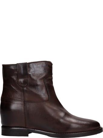 Julie Dee Ankel Boots Inside Wedge In Brown Leather