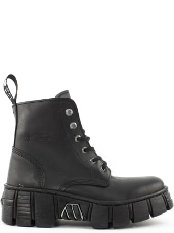 New Rock Ankle Boot In Black Leather