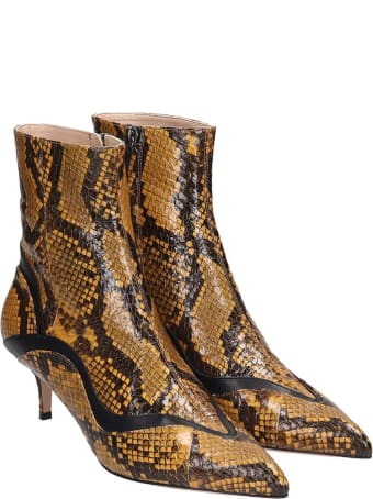Paula Cademartori High Heels Ankle Boots In Yellow Leather